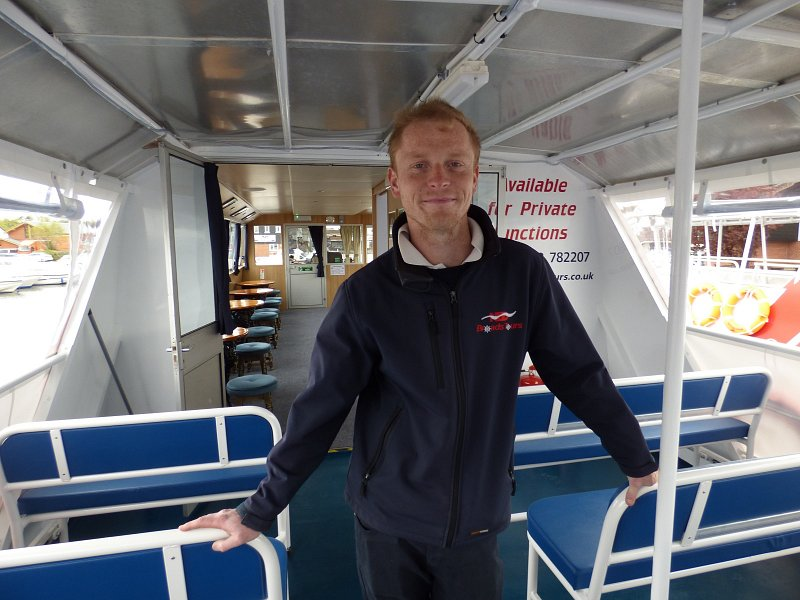 tom crabb on board queen of the broads